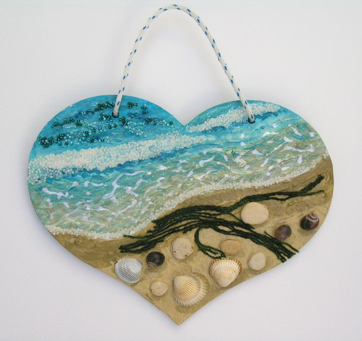 'At the Ocean's Edge' - mixed media on a large wooden heart that measures 25cm across.   FOR SALE  £49 (includes UK postage).