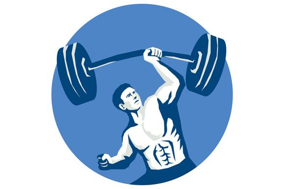 Strongman Lifting Barbell One Hand S by patrimonio on Creative Market