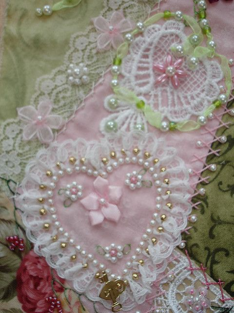 Crazy Patch block - Faux pearl and lace heart by Happy 2 Sew, via Flickr