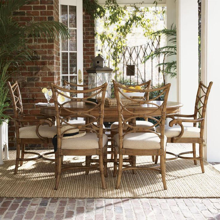 Beach House Round Coconut Grove Dining Table With Bent Rattan Unique Beachy Dining Room Sets Decorating Inspiration
