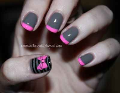 french manicure grey with pink tips