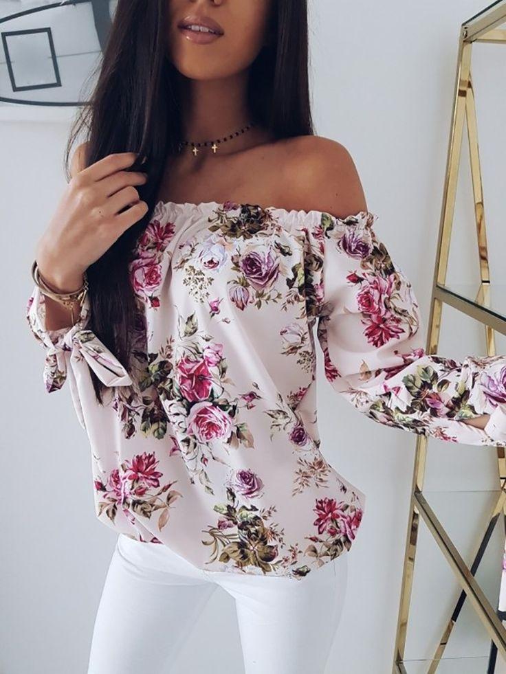 Off Shoulder Shirring Floral Print Loose Blouse