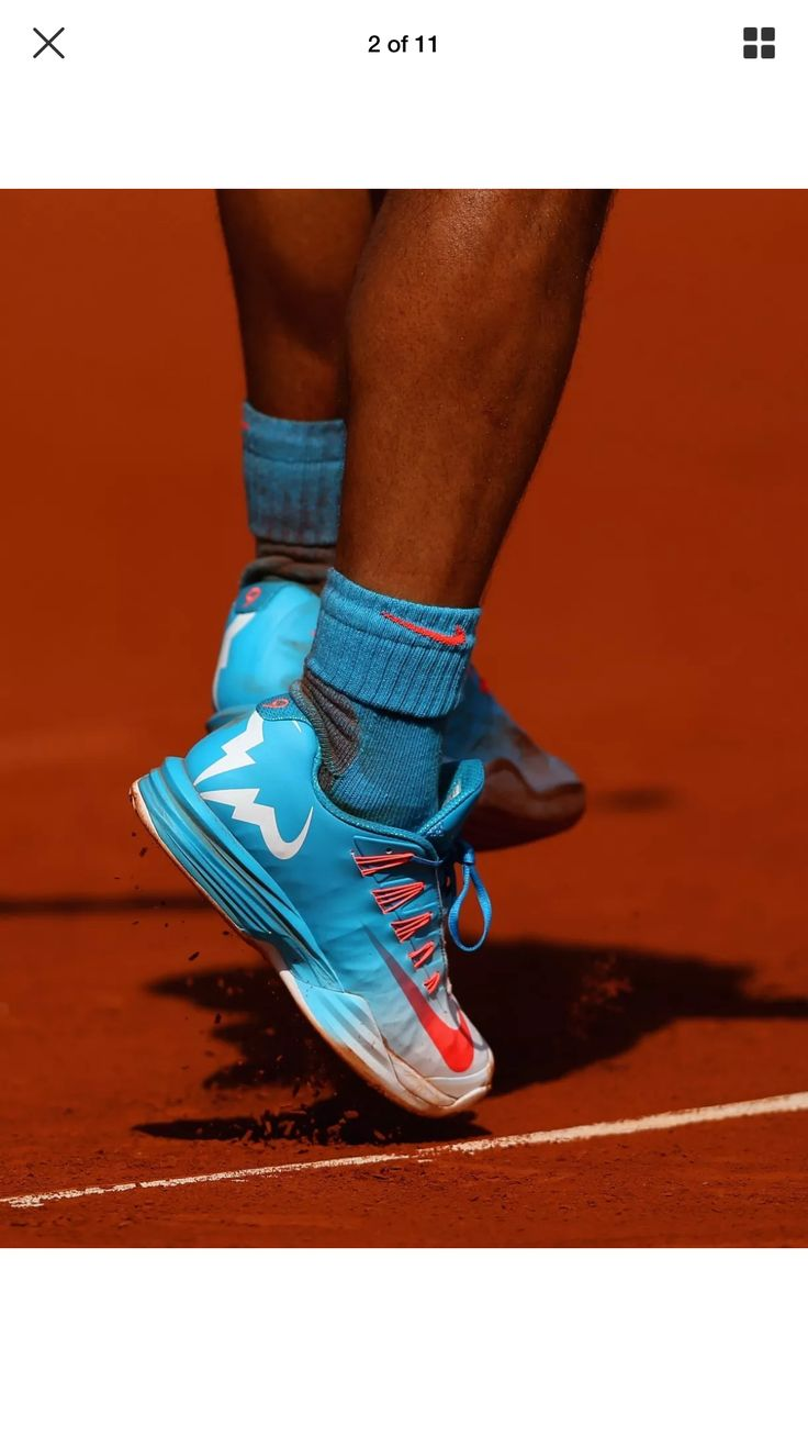 huge discount e96c9 47c41 A detailed view of Rafael Nadal of Spains shoes in his Mens quarter .