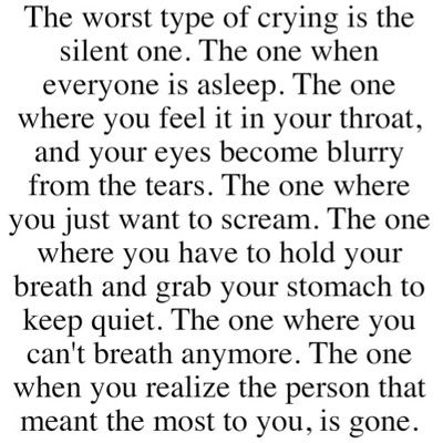 I have recently experienced that... the worst feeling of my life and