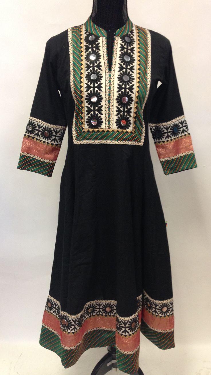 Anarkali Style Long Cotton Kurta-Black