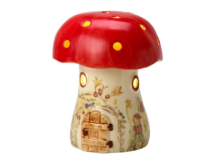 A true favourite in childrens lighting, our British made toadstool lamp. A beautiful and traditional British made hand decorated childrens mushroom night light handcrafted in England in ceramic. Our toadstool kids lamp in is a unique and exclusive childrens bedside light and is designed and created by us here at White Rabbit England. The mushroom night-light is based on a traditional childrens style of night-light from the 1970's, evoking nostalgic memories from times gone by.