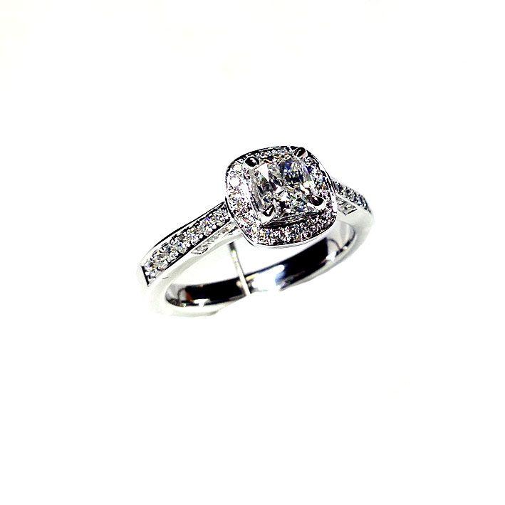 'Halo' Diamond Engagement Ring - Cushion 0.71ct - G VS2 - Diamond Imports