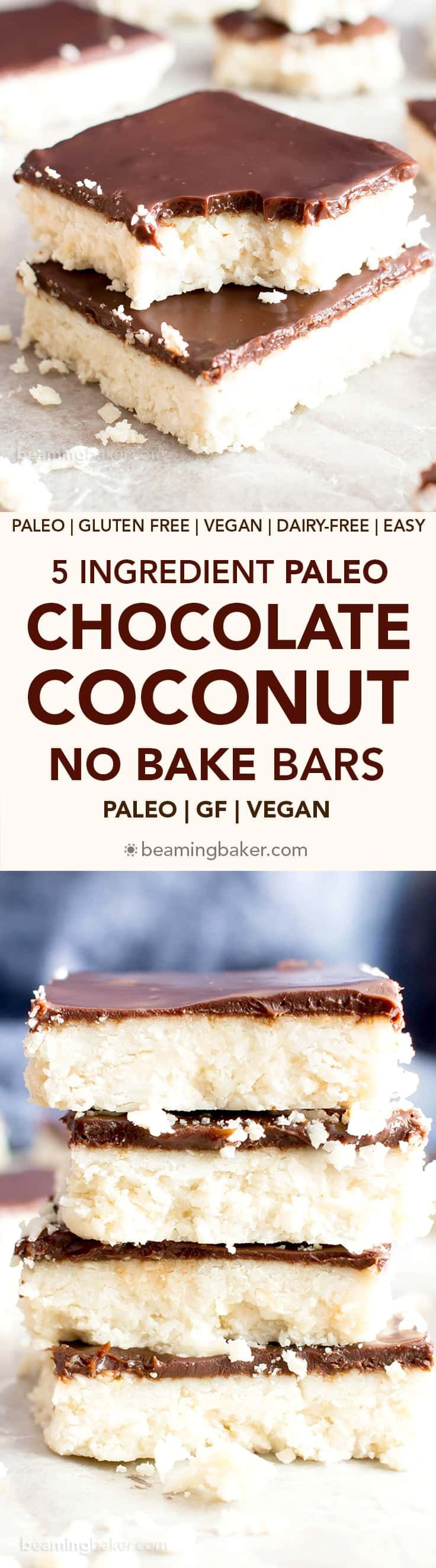5 Ingredient No Bake Chocolate Coconut Bars (V, GF): A decadent 'n easy dessert recipe for thick, indulgent coconut bars enrobed in a velvety layer of rich chocolate ganache. Healthy Dessert Recipe. #Vegan #GlutenFree #Paleo#Healthy #Desserts#DairyFree | Recipe on BeamingBaker.com