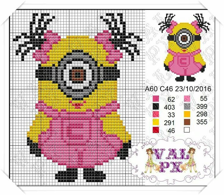 Minion girl cross stitch.