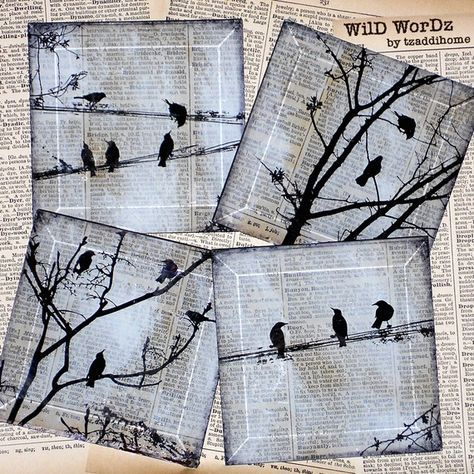 Black Bird Handmade Glass Coaster Set from Upcycled