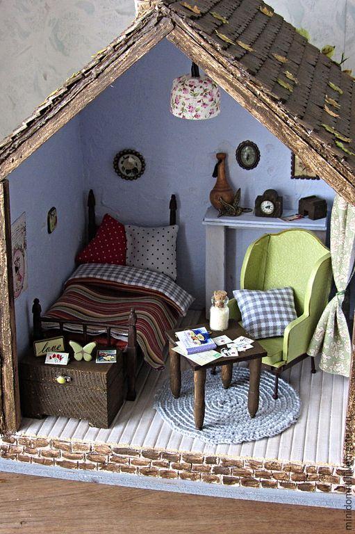 Купить Маленький дачный домик - дом, домик, домик для кукол, домик в деревне, кукольная миниатюра