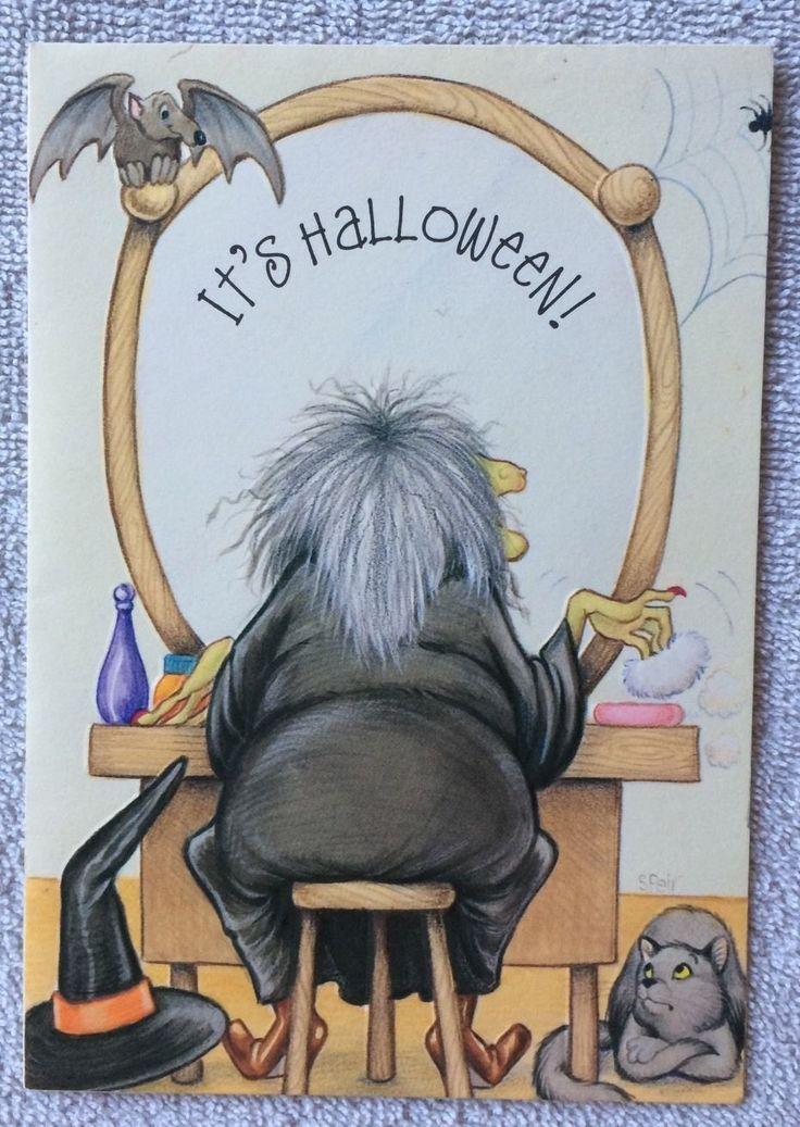 Vintage UNUSED Hallmark Halloween Greeting Card Embossed WITCH w/ CAT & BAT