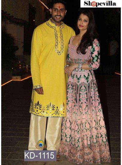 Aishwarya Rai Designer Light Pink & Green Gown-KD-1115