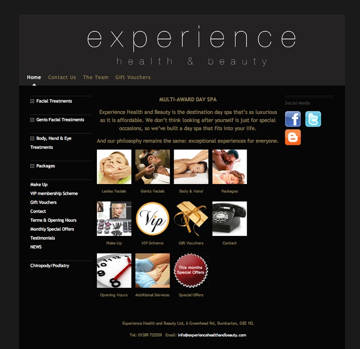 Experience Health and Beauty is a Day Spa based in the West of Scotland, this is the web site we created for them.