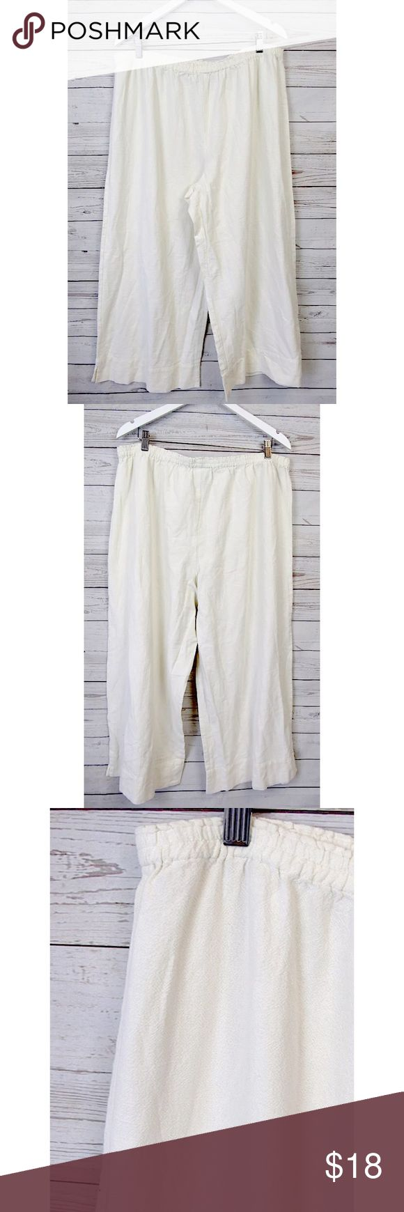 "Soft Surrounding Ivory Gauzy Beach Pants Sz 2X Brand: Soft Surroundings Style:  Beach pants, elastic waist, wide legs Size:  2X Color/Pattern:  ivory Material:  100% cotton Measurements taken flat:  -Waist:   19"" -Inseam:   28"" -Rise:   14.5"" -Leg Opening:   16"" Garment Care: machine wash, tumble dry    Condition: No flaws Soft Surroundings Pants Wide Leg"