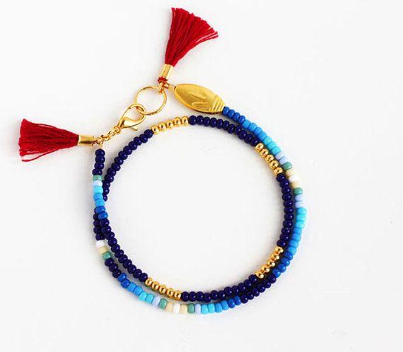 Beaded Wrap Bracelet - Tribal Friendship Bracelet - Tassel Bracelet - Navy Blue Royal Blue Light Blue Teal Mint Cream White and Gold