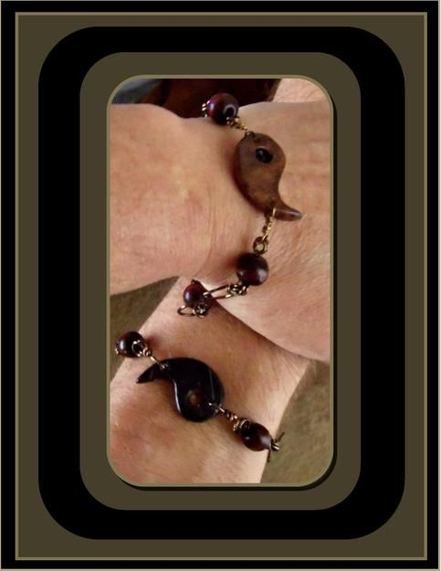"""The+Yin+to+your+Yang...  My+Custom+Design++""""Yin+Yang""""+Infinity """"Perfect+Fit+Forever""""+Bracelet+SET! Clay+Pendant+with+wood+accent+beads  For+People+who+are+a+Perfect+Fit  I+created+this+Necklace+by+hand+forming+clay+that+is+hardened+in+an+oven. I+then+hand+paint+the+Original+design+and+se..."""