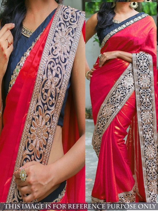 Gorgeous Red Silk Designer Saree comes with Navy Blue Color Banglori Silk Blouse. It contained the Embroidery work with lace border. The Blouse can be customized up to bust size 44