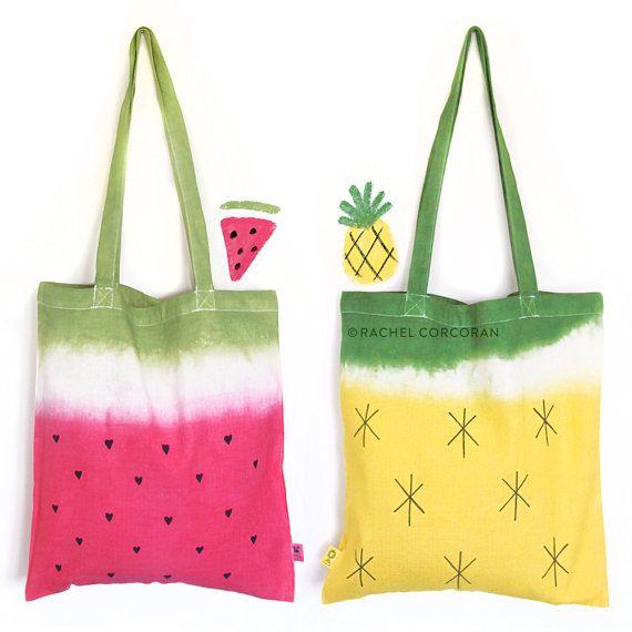 Canvas Tasche - Wassermelone - Ananas Print - Canvas Umhängetasche - Wiederverwendbare Einkaufstasche - Frucht Print - Sommer Tasche - Strandtasche