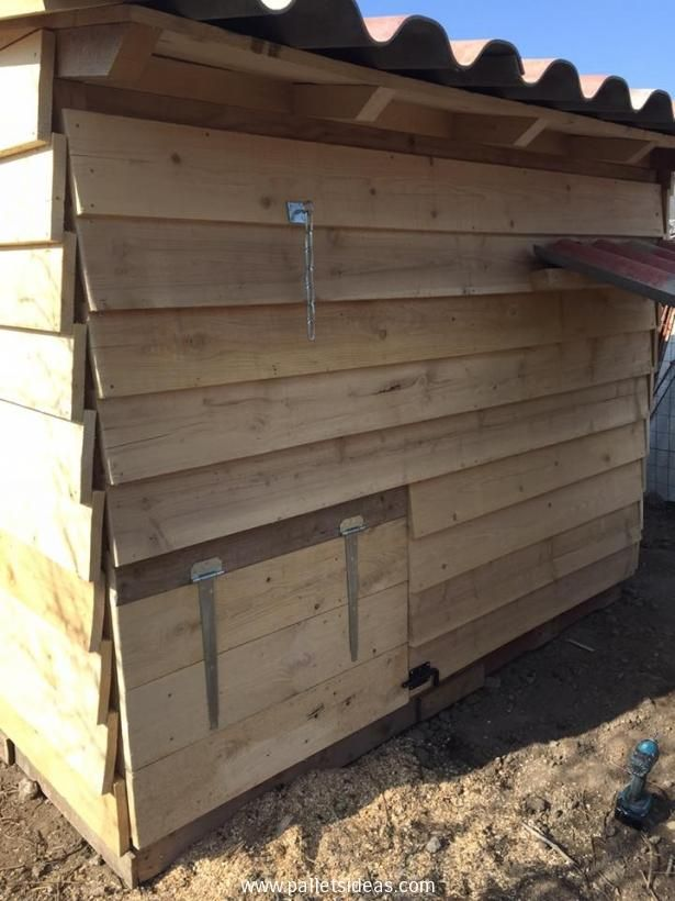 We made this hut shaped chicken coop with fresh pallet planks, on the front we have spared some space for a built in door which can easily be opened and closed connected with a fixed chain. So this is the basic entry or passage way for the chickens.
