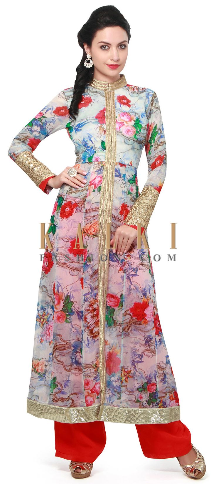 Buy Online from the link below. We ship worldwide (Free Shipping over US$100). Product SKU - 312475.Product Link - http://www.kalkifashion.com/blue-floral-suit-highlighted-in-zari-lace-only-on-kalki.html