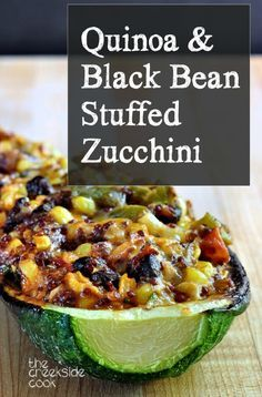 Ready in just minutes, filled with yummy veggies, and infinitely adaptable: Quinoa and Black Bean Stuffed Zucchini on The Creekside Cook |#glutenfree #vegan #vegetarian – More at http://www.GlobeTransformer.org