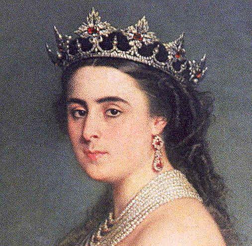 Angela de Las Navas, Duchess of Medinaceli, wearing the Medinaceli Ducal Tiara (ruby setting), Spain (mid 19th c.; rubies, diamonds).