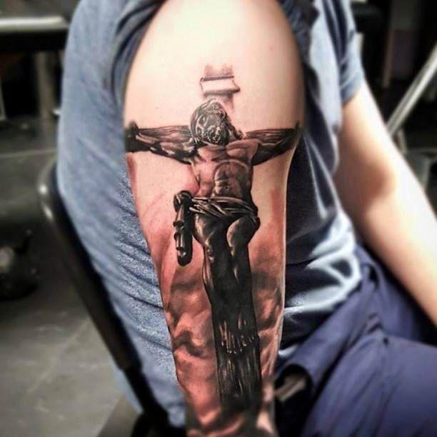 Tattoo Ideas For Women S Upper Arm: Tattoo Cross Jesus Upper Arm #Tattoo, #Tattooed, #Tattoos