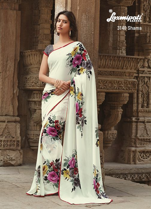 Multicolor floral prints on georgette saree designed with red piping lace. #Laxmipati #Sarees
