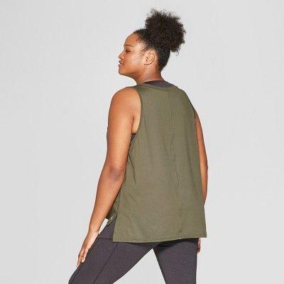 fededcadf Women's Plus Size Muscle Tank Top - JoyLab Deep Olive Green 3X in ...