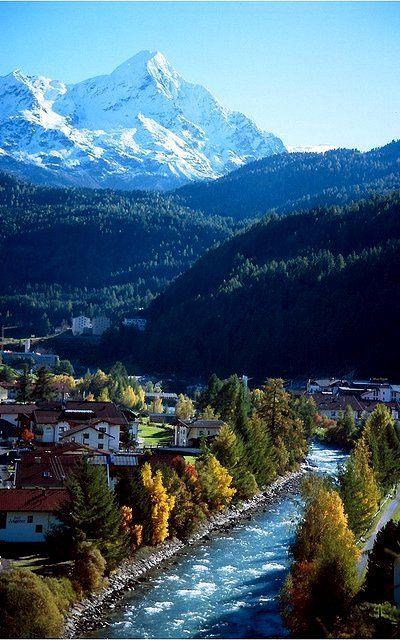 Alpine river flowing through of Sölden, Austria