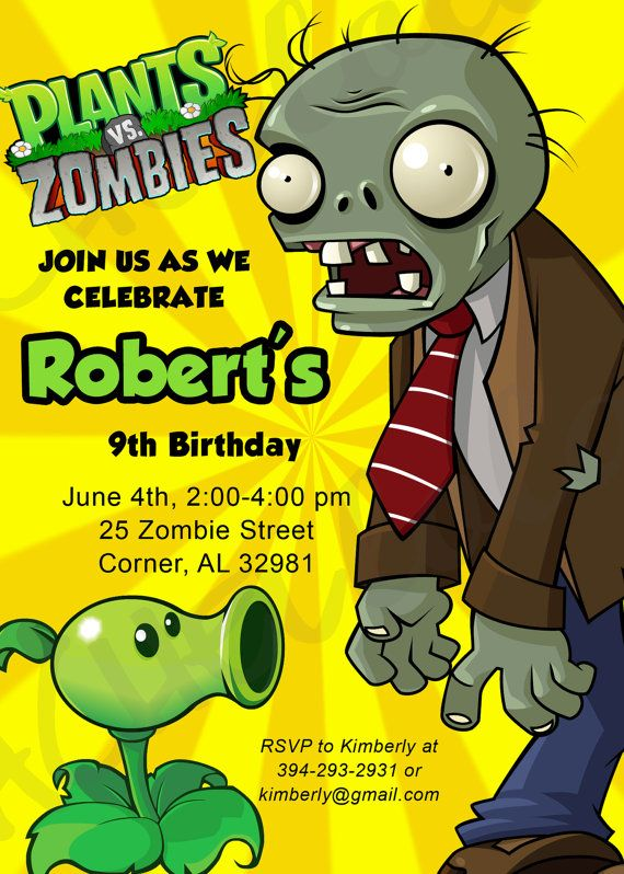 116 best plantas vs zombies images on pinterest plants candies plants vs zombies birthday party invitation by rachellola on etsy toneelgroepblik Image collections