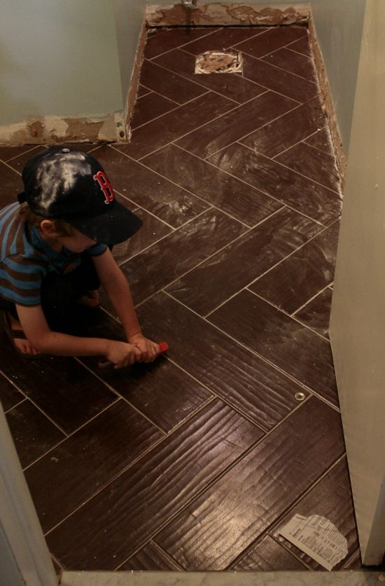 Colonial Walnut Wood tile laid in herringbone pattern || Delighting in Today