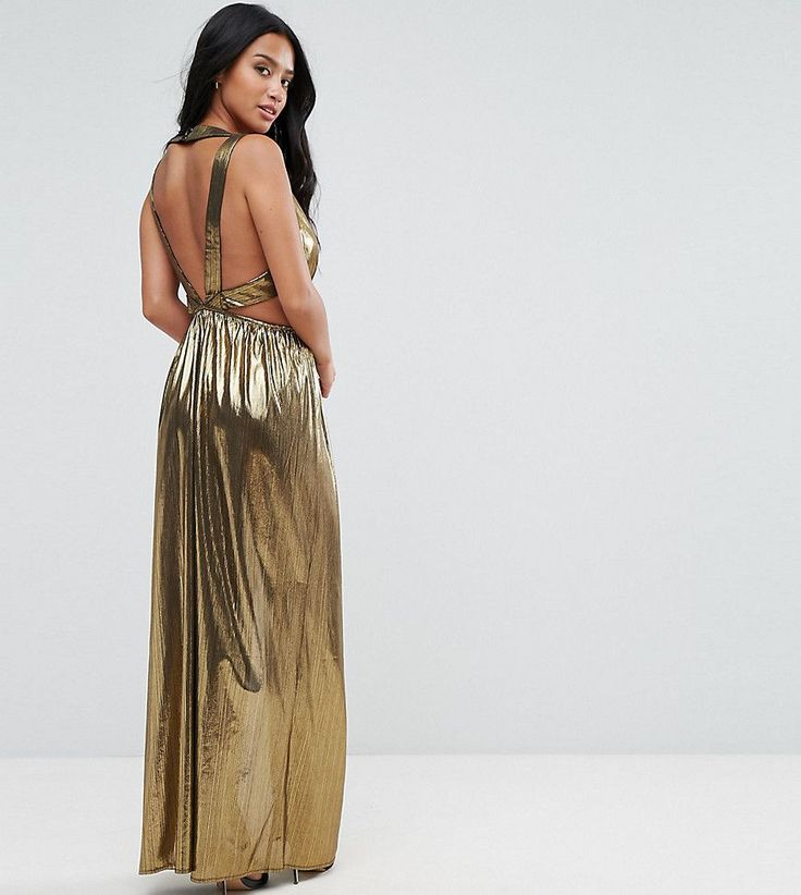 TFNC Petite V Neck Maxi Dress With Pleated Back Panels - Gold