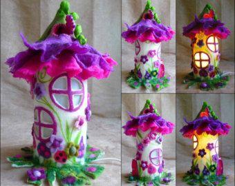 felted fairy lamp bedside lamp night light by FeltedArtToWear