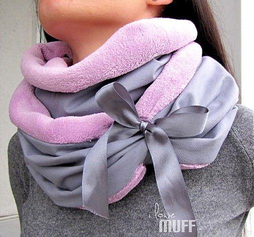 muff / teplodaj ovečka šedo-ružový