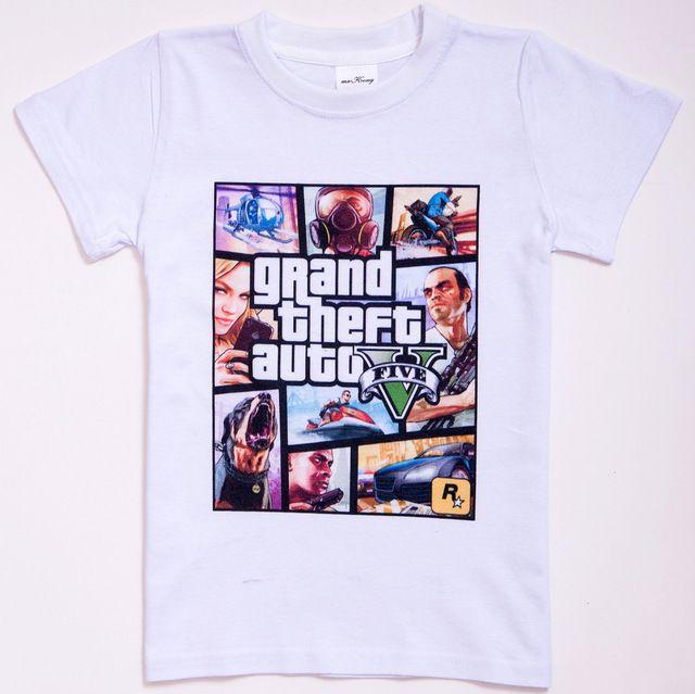 Gta 5 kids katoenen t-shirt jongens meisjes grand theft auto v shirt baby tees tops