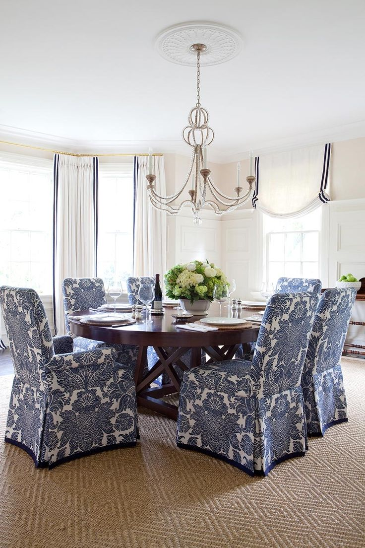 Love these covered chairs for a dinning room. If you're like me and purchased your Dining Set years ago, this is a great way to update your look!!