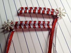 Red & White silver snowflake, 80's retro braided ribbon barrettes Christmas, Winter.