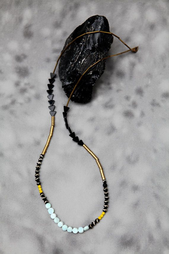 Black and Yellow Necklace. $85.00, via Etsy.