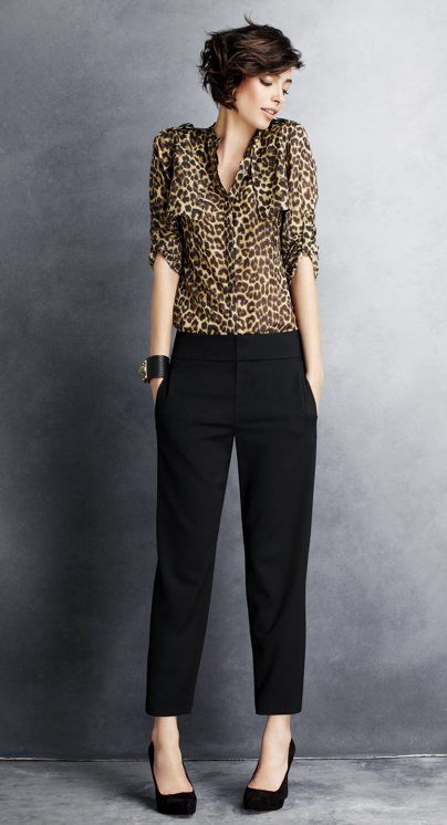 Ann Taylor's Leopard Print Trench Blouse, Slouchy Cropped Pants and Lucia Suede Platform Wedges