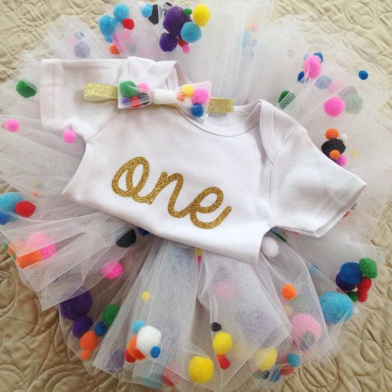Pom Pom-First Birthday Outfit by SweetlyStitchedGifts on Etsy