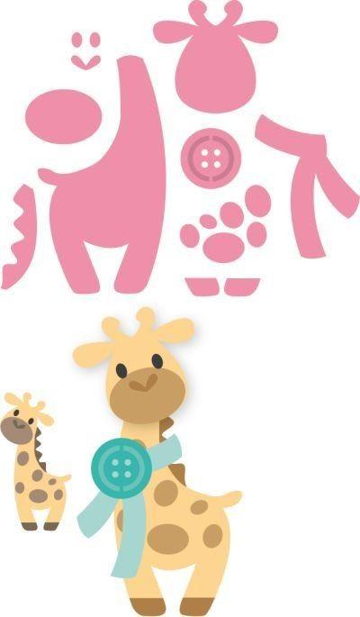 Collectables, fustelle per tagliare e embossare carta, pannolenci, riproduce una tenera giraffa