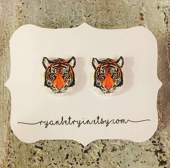 Tijger Stud Oorbellen - tijger hoofd oorbellen - Tigers - Tiger hengsten - Tiger oorbellen - LSU - Detroit - oorbellen - Clemson - kat oorbellen