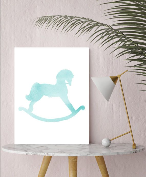 Teal watercolor Rocking horse,  Would you like a different color? hit the custom button. I can make this in just about anycolor you like.  ************You are purchasing a digital file only***********  WHAT DO YOU GET? - An 8.5x11 printable INSTANT DOWNLOAD of ready to print art for your wall in JPG and PDF - All files are high quality 300 (dpi)  HOW DOES IT WORK? - Purchase the listing, and ETSY will instantly provide a link to download the file. - Click on the link to download and save the…