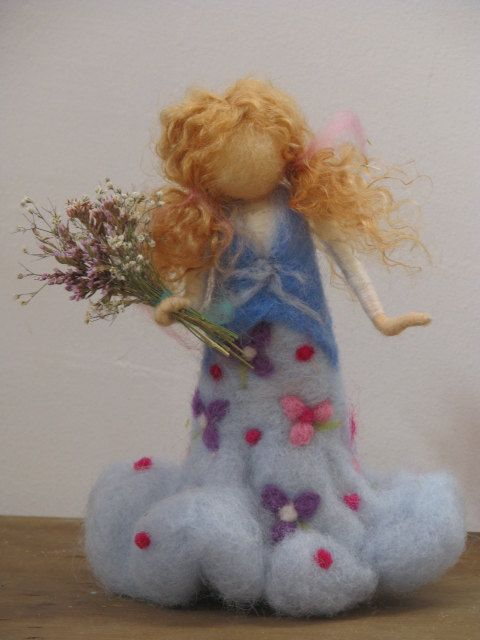 needle felted girl with flowers by Made4uByMagic on etsy $52