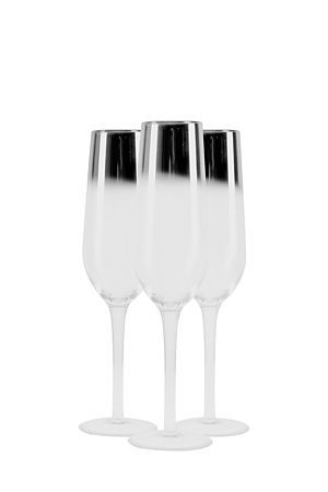 This contemporary set of 3 flutes are ideal for festive entertaining and adding to your fine dining setting. Hand blown with gorgeous metallic detail. Hand wash only.