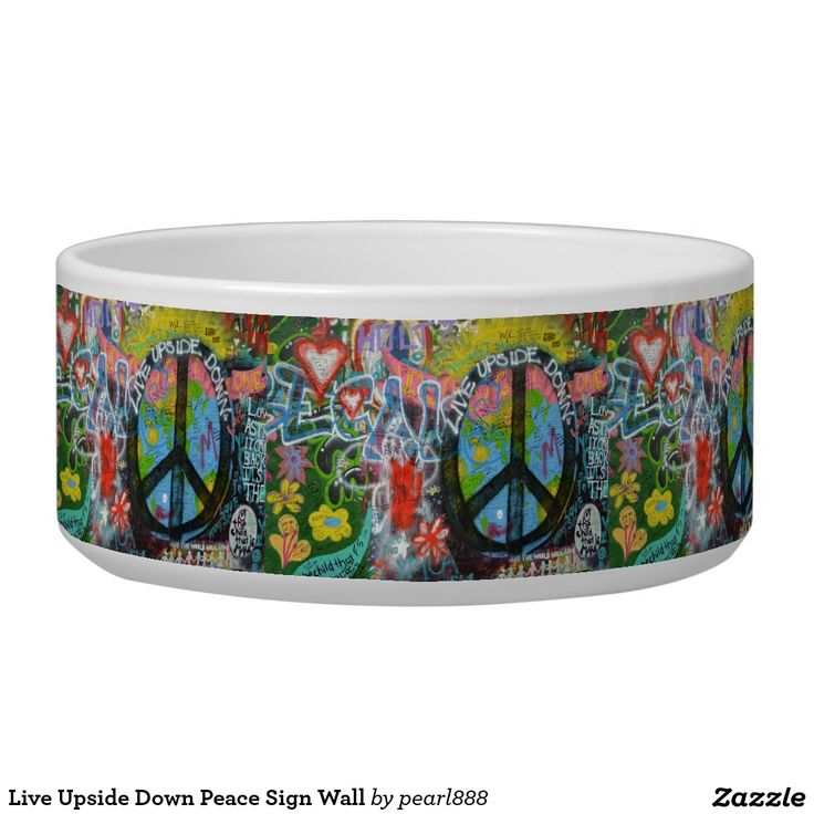 Live Upside Down Peace Sign Wall Pet Water Bowl