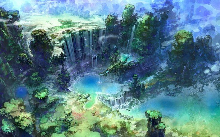 Great Falls Wallpapers Hd Widescreen Fantasy Jungle City Fantasy Waterfall Hd Wallpaper