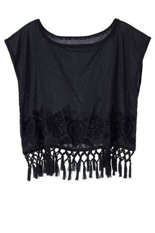 Fashionable Scoop Neck Solid Color Tassel Splicing Short Sleeve T-Shirt For Women